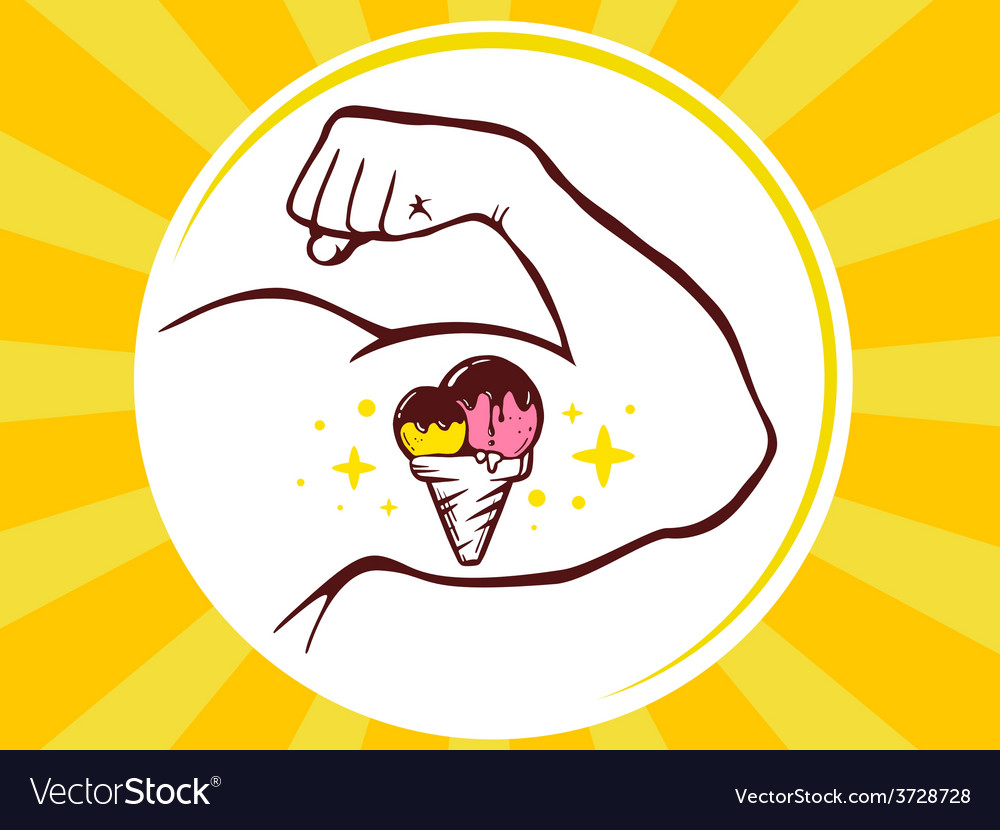 Strong man hand with ice cream icon on ye vector | Price: 1 Credit (USD $1)