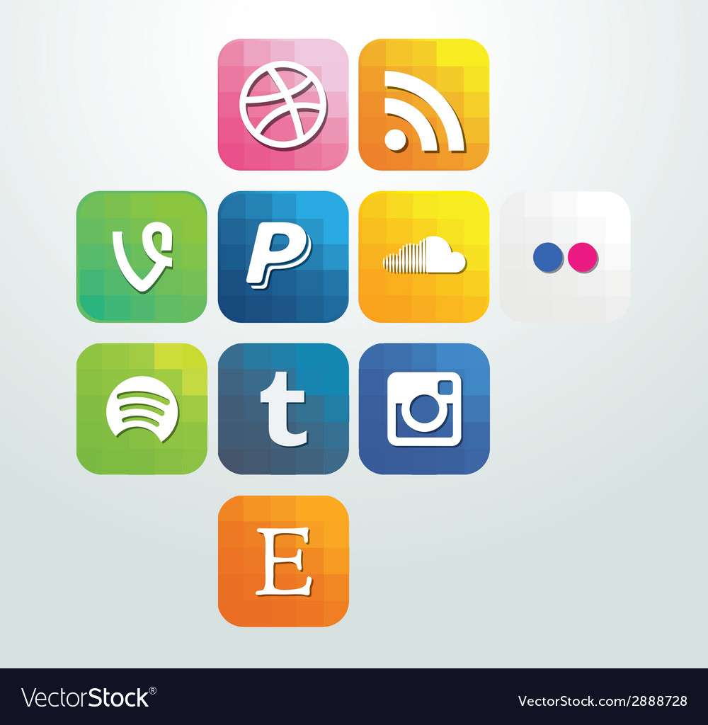Web icon elements arrows with buttons social media vector | Price: 1 Credit (USD $1)