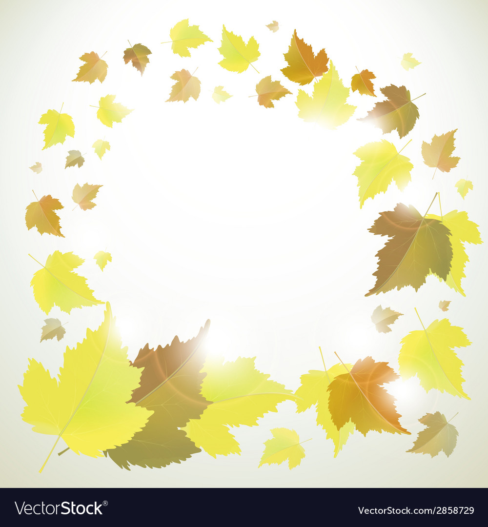 Autumn frame or background with leaves vector | Price: 1 Credit (USD $1)