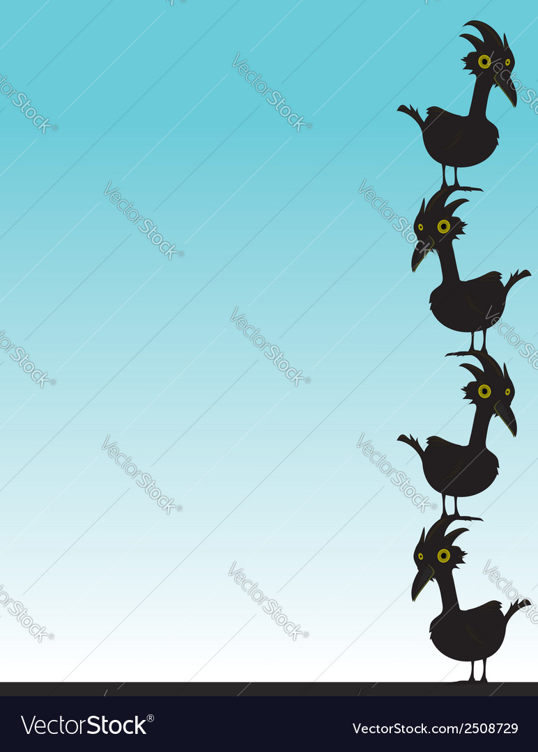 Black birds on blue background vector | Price: 1 Credit (USD $1)
