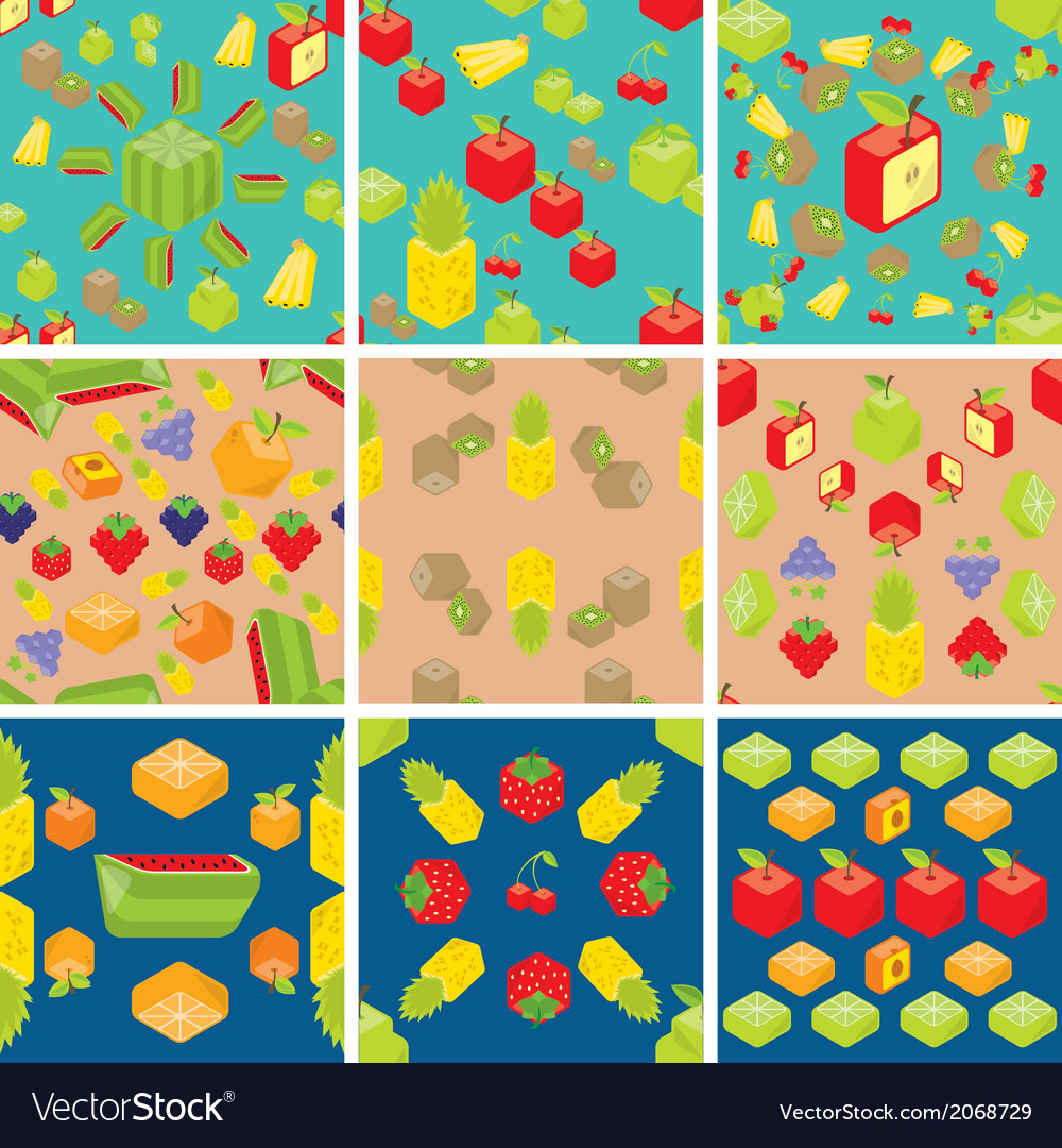 Cubic fruits pattern vector | Price: 1 Credit (USD $1)