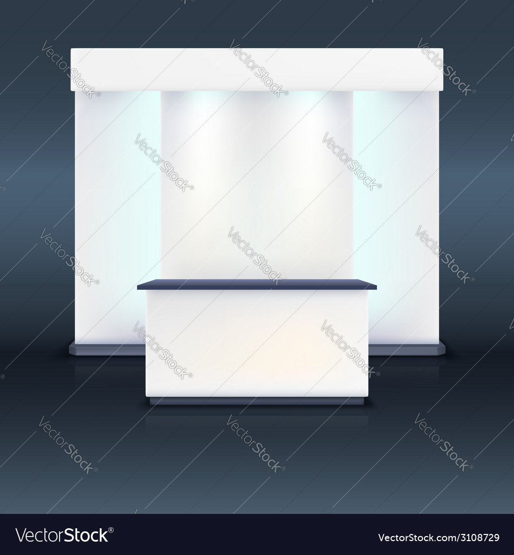Exhibition stand with screen and blue illumination vector | Price: 1 Credit (USD $1)