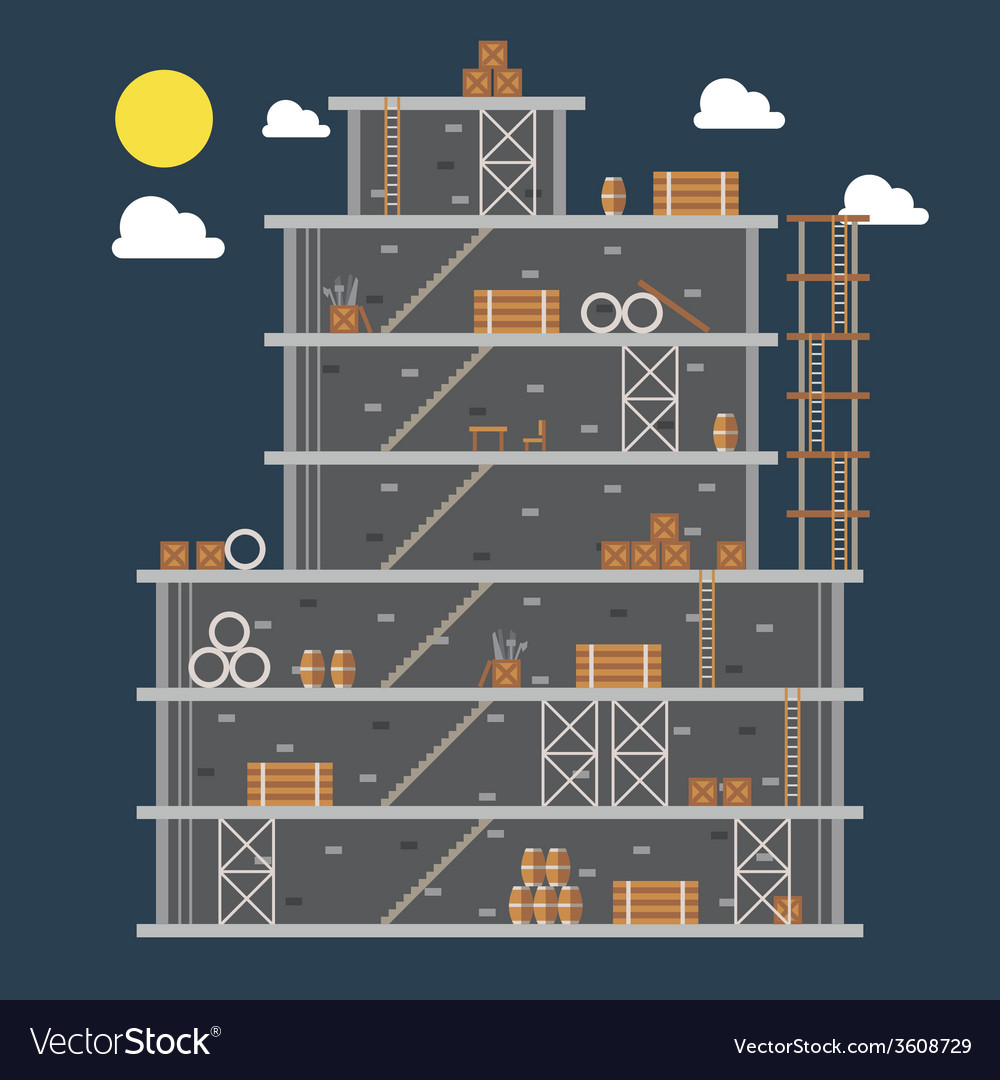 Flat design of construction site vector | Price: 1 Credit (USD $1)
