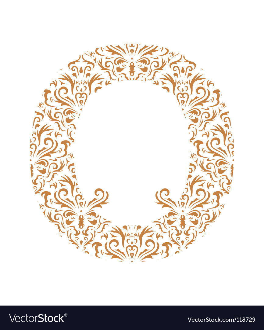 Floral letter o ornament font vector | Price: 1 Credit (USD $1)