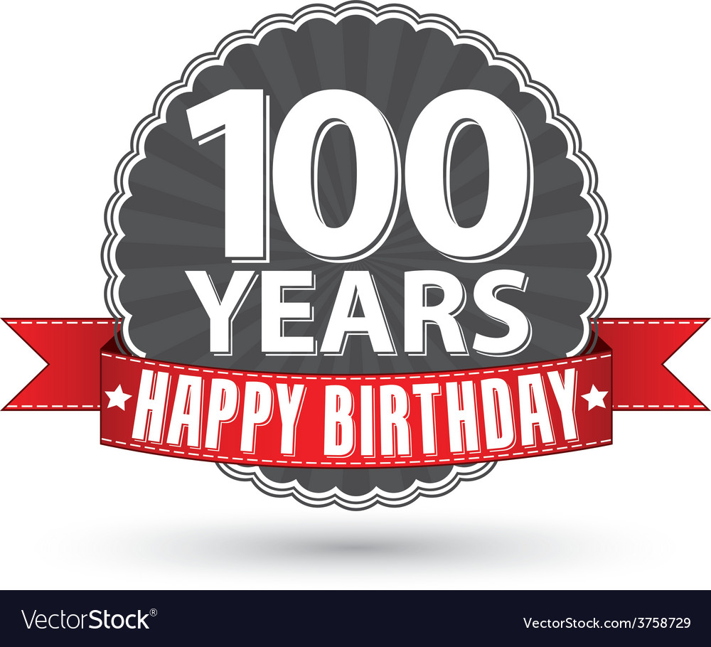 Happy birthday 100 years retro label with red vector | Price: 1 Credit (USD $1)
