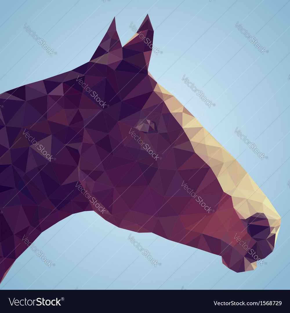 Head of a bay horse in triangular style vector | Price: 1 Credit (USD $1)