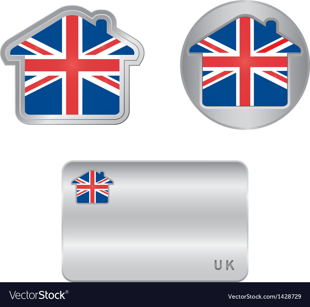 Home icon on the united kingdom flag vector | Price: 1 Credit (USD $1)