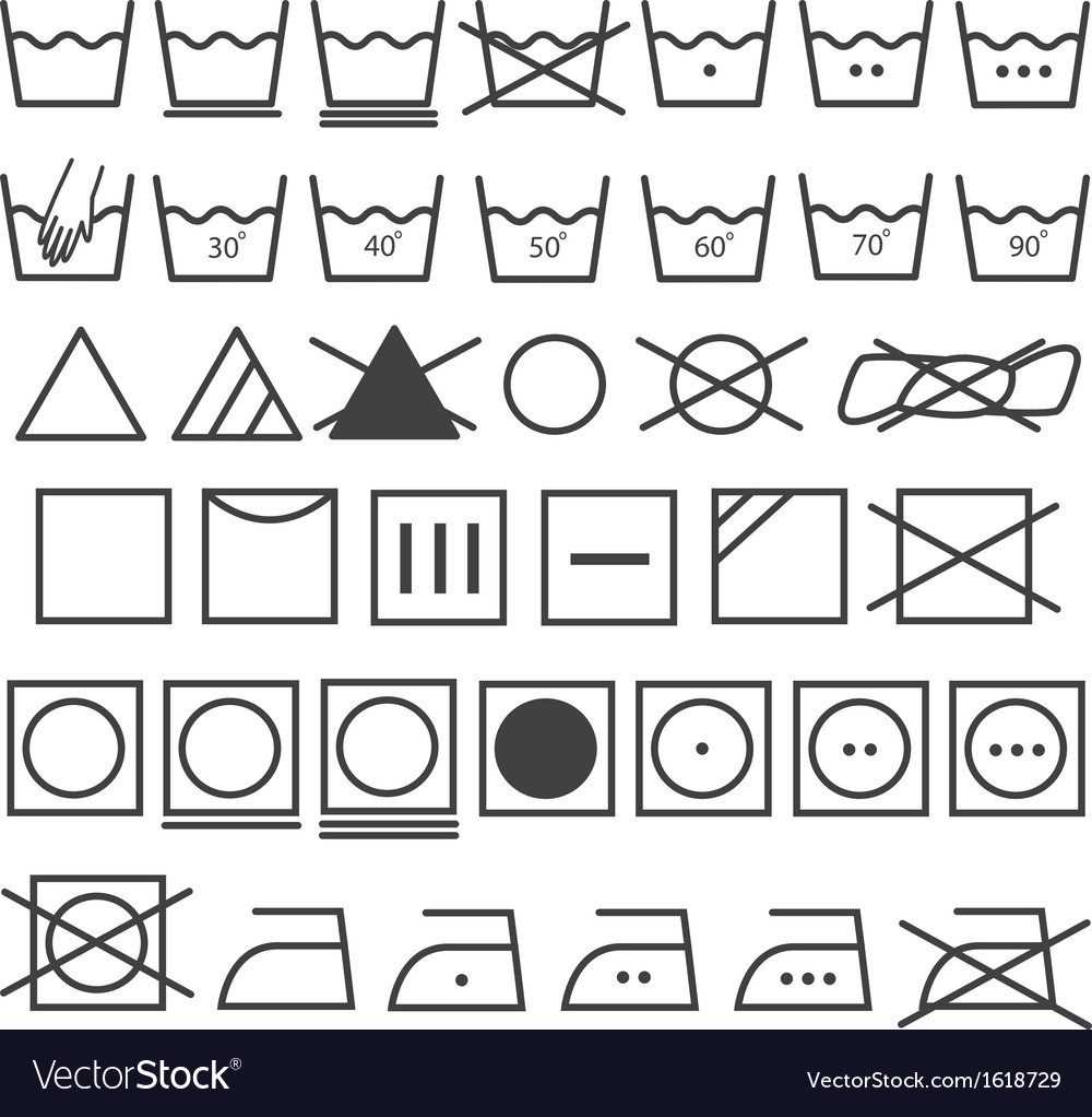 Laundry icons set washing symbol vector | Price: 1 Credit (USD $1)