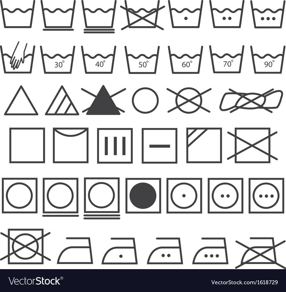 Laundry icons set washing symbol vector | Price: 1 Credit (USD $1)