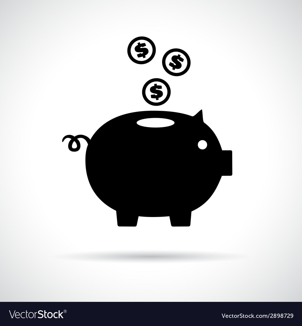 Piggy bank icon with coins falling in vector | Price: 1 Credit (USD $1)