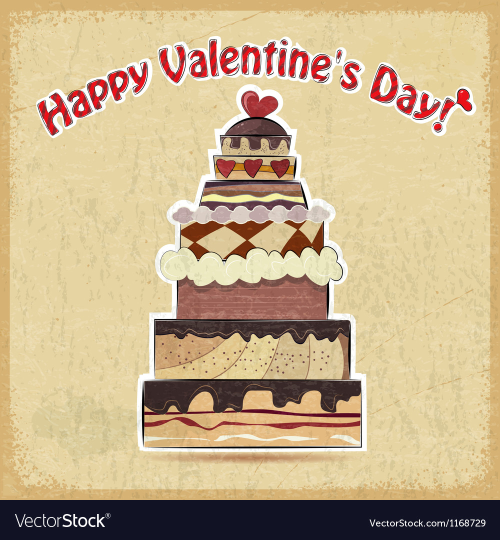 Postcard showing big cake for valentines day vector | Price: 1 Credit (USD $1)
