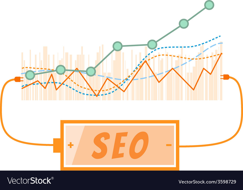 Seo word charging battery power with grow up graph vector | Price: 1 Credit (USD $1)
