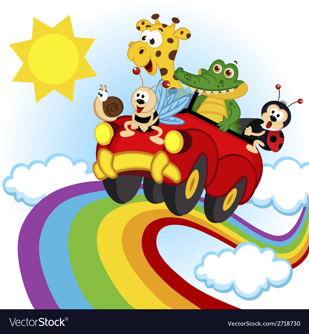 Animals traveling by car over the rainbow vector | Price: 1 Credit (USD $1)