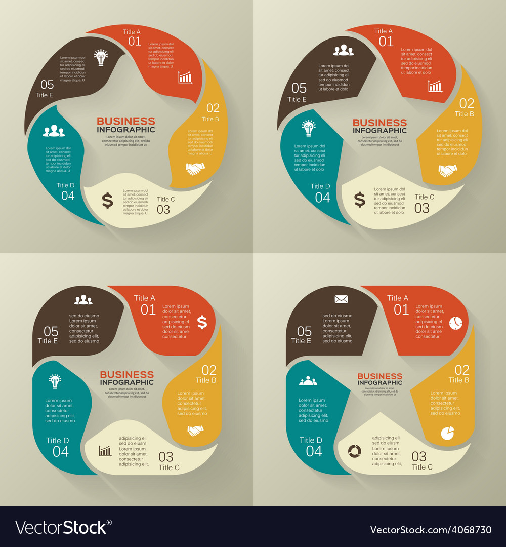 Circle retro old infographic cycle diagram vector | Price: 1 Credit (USD $1)