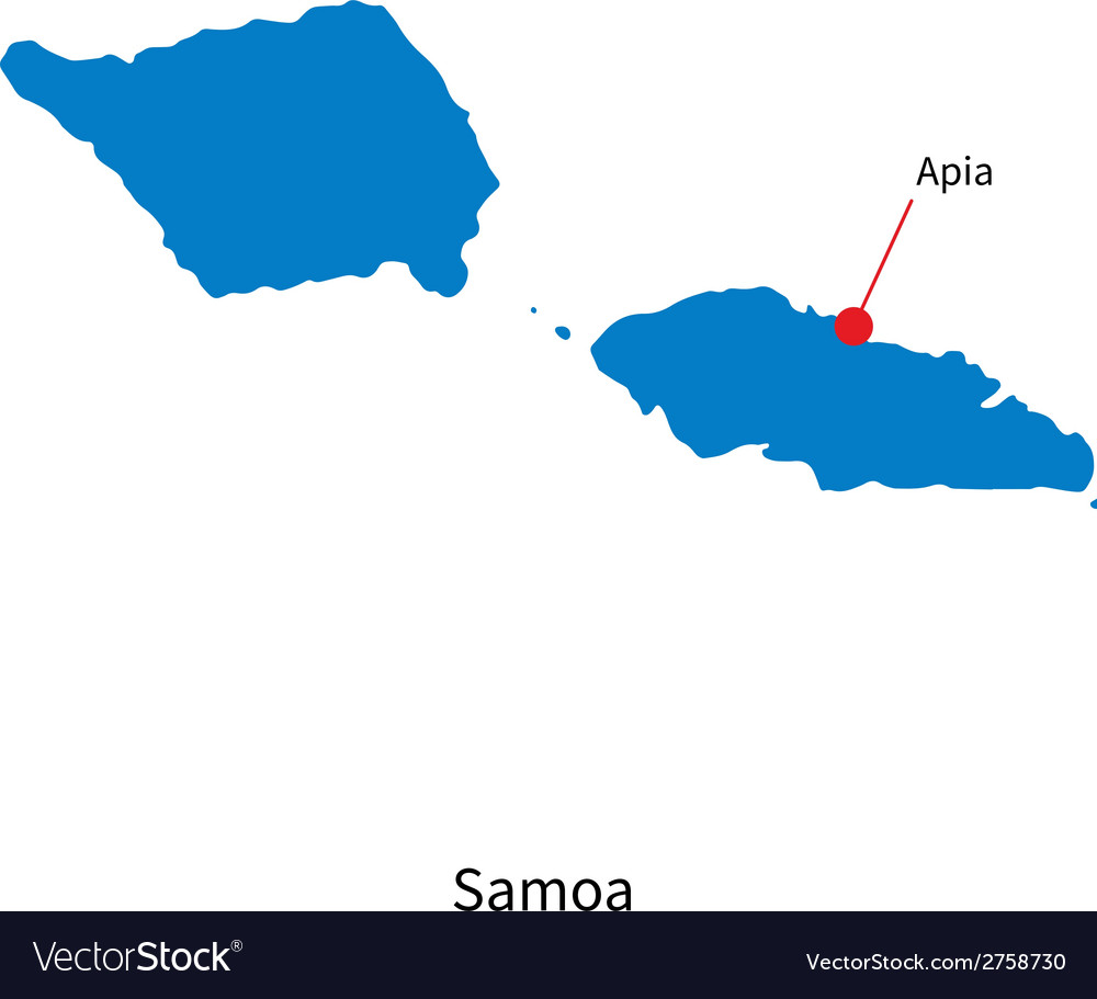Detailed map of samoa and capital city apia vector | Price: 1 Credit (USD $1)