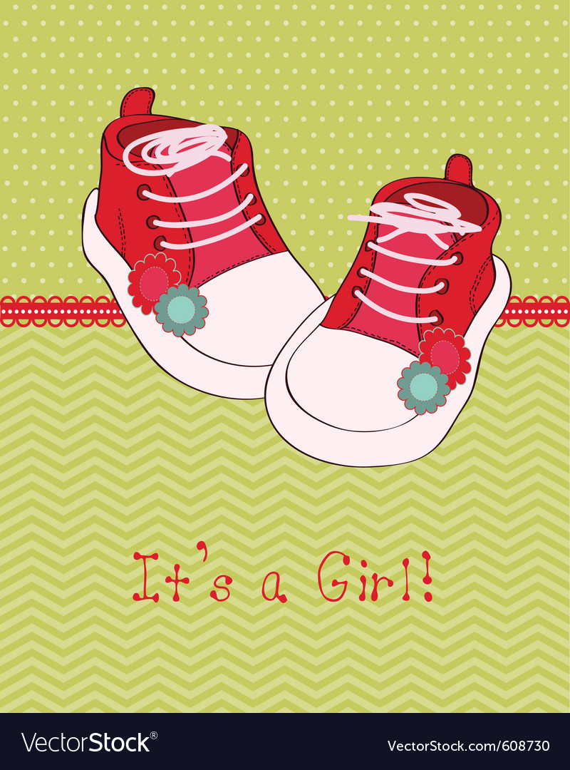 Greeting baby card with shoes vector | Price: 1 Credit (USD $1)