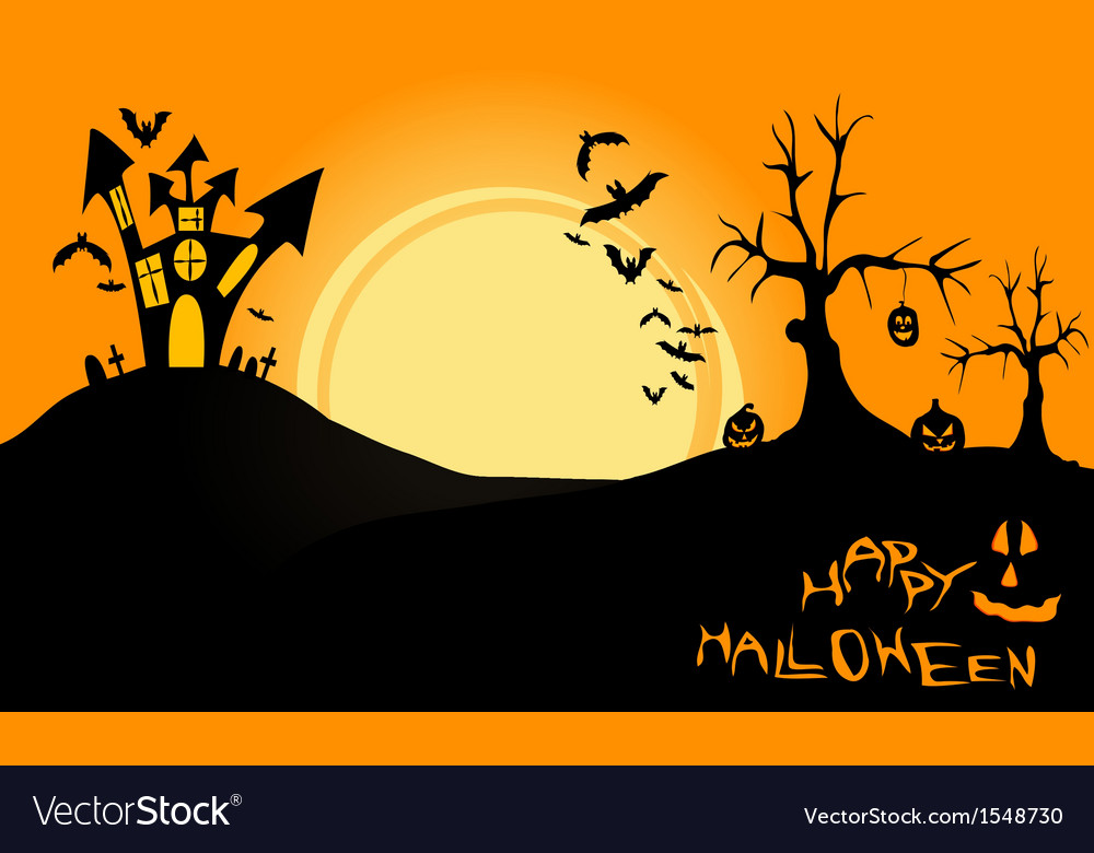 Halloween landscape at night vector | Price: 1 Credit (USD $1)