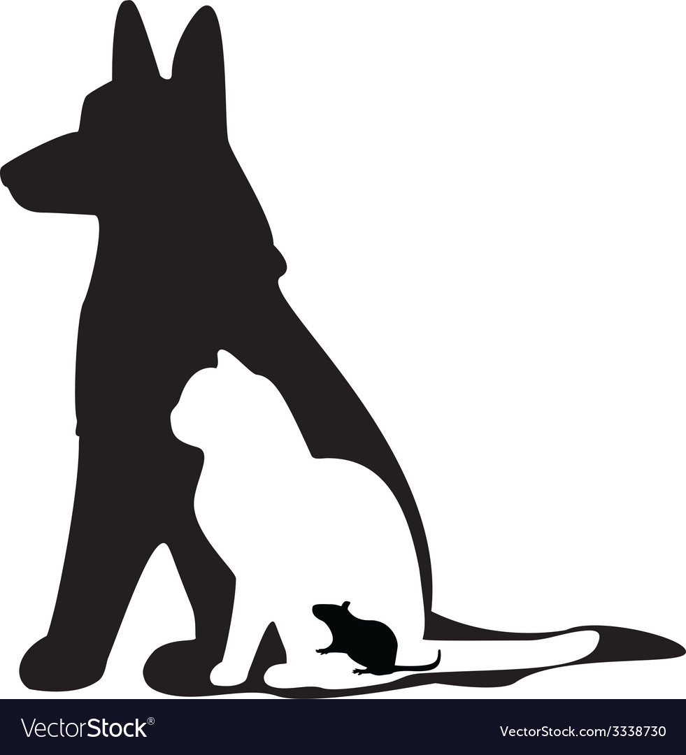 Mouse cat dog silhouette vector | Price: 1 Credit (USD $1)