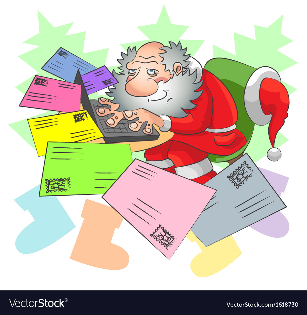 Santa and e mail vector | Price: 1 Credit (USD $1)