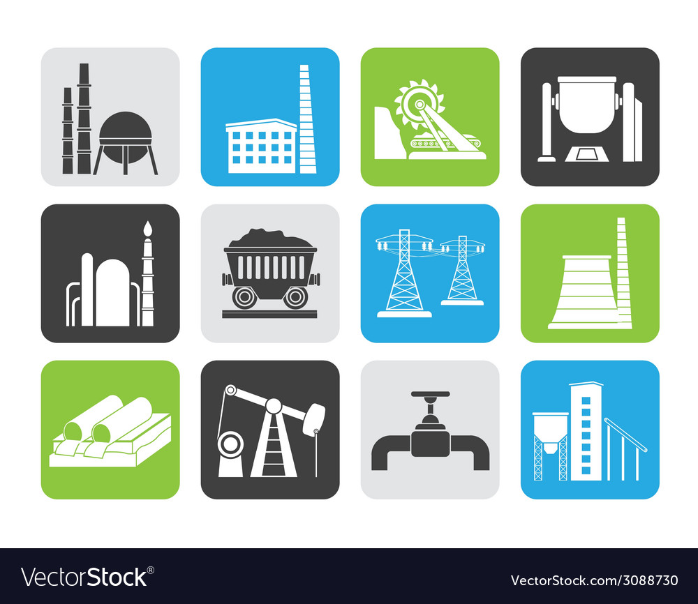 Silhouette heavy industry icons vector | Price: 1 Credit (USD $1)
