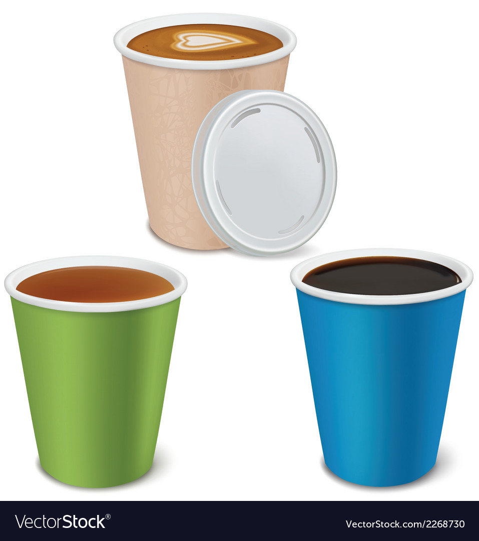 Tea cappuccino coffee in paper cups vector | Price: 1 Credit (USD $1)