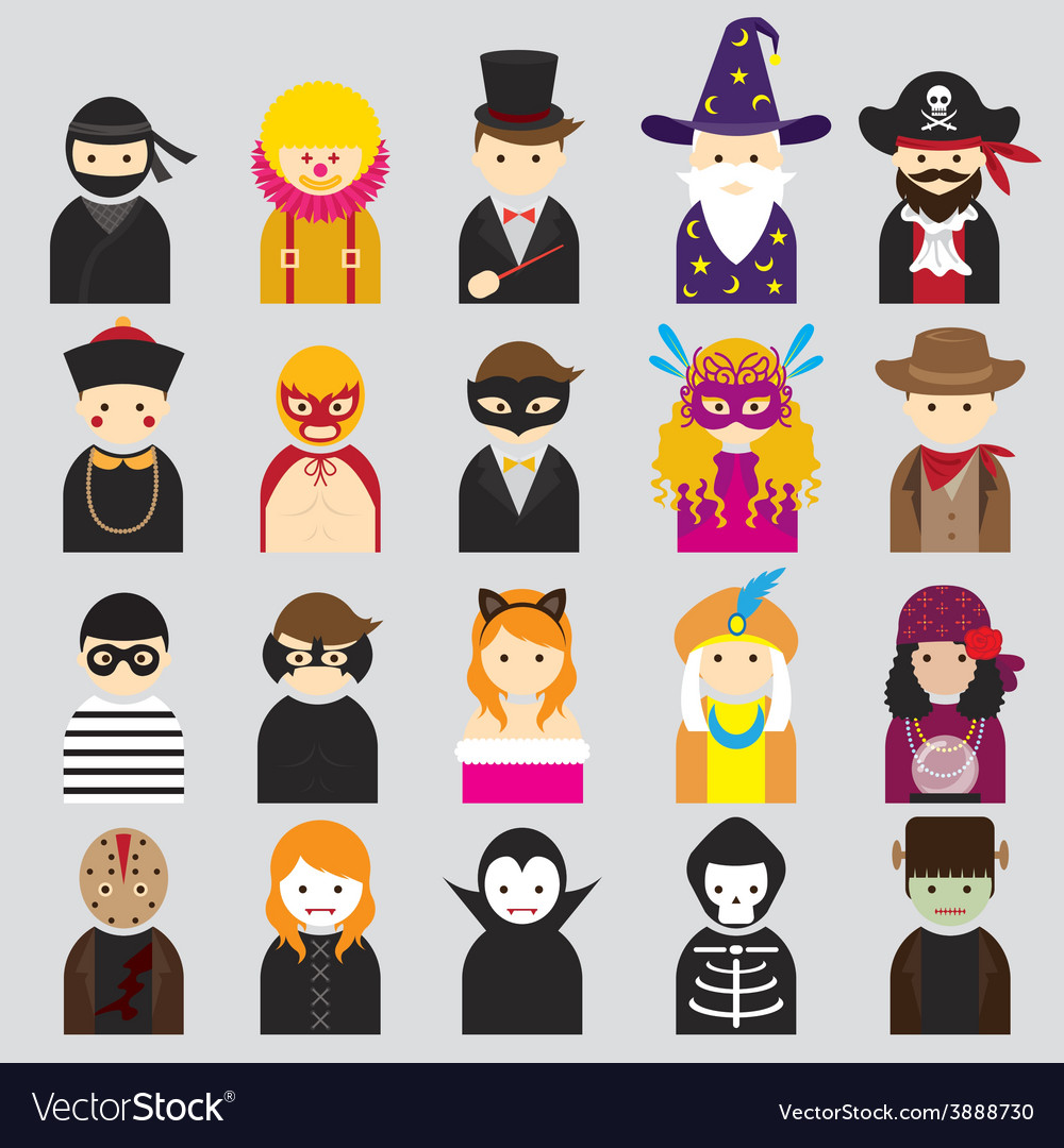 Various people symbol icons fancy mask set vector | Price: 1 Credit (USD $1)