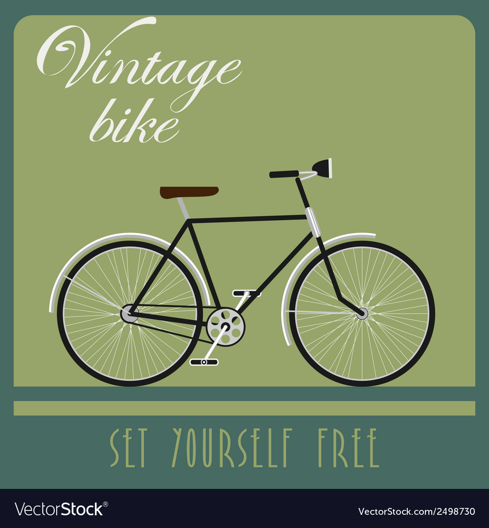 Vintage card of black bicycle in retro style vector | Price: 1 Credit (USD $1)