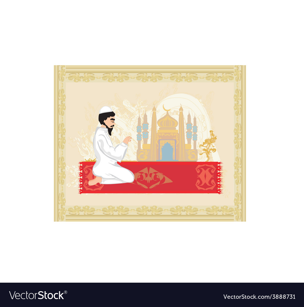 Abstract religious background - muslim man praying vector | Price: 1 Credit (USD $1)