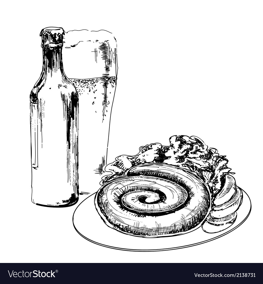 Beer with sausage vector | Price: 1 Credit (USD $1)