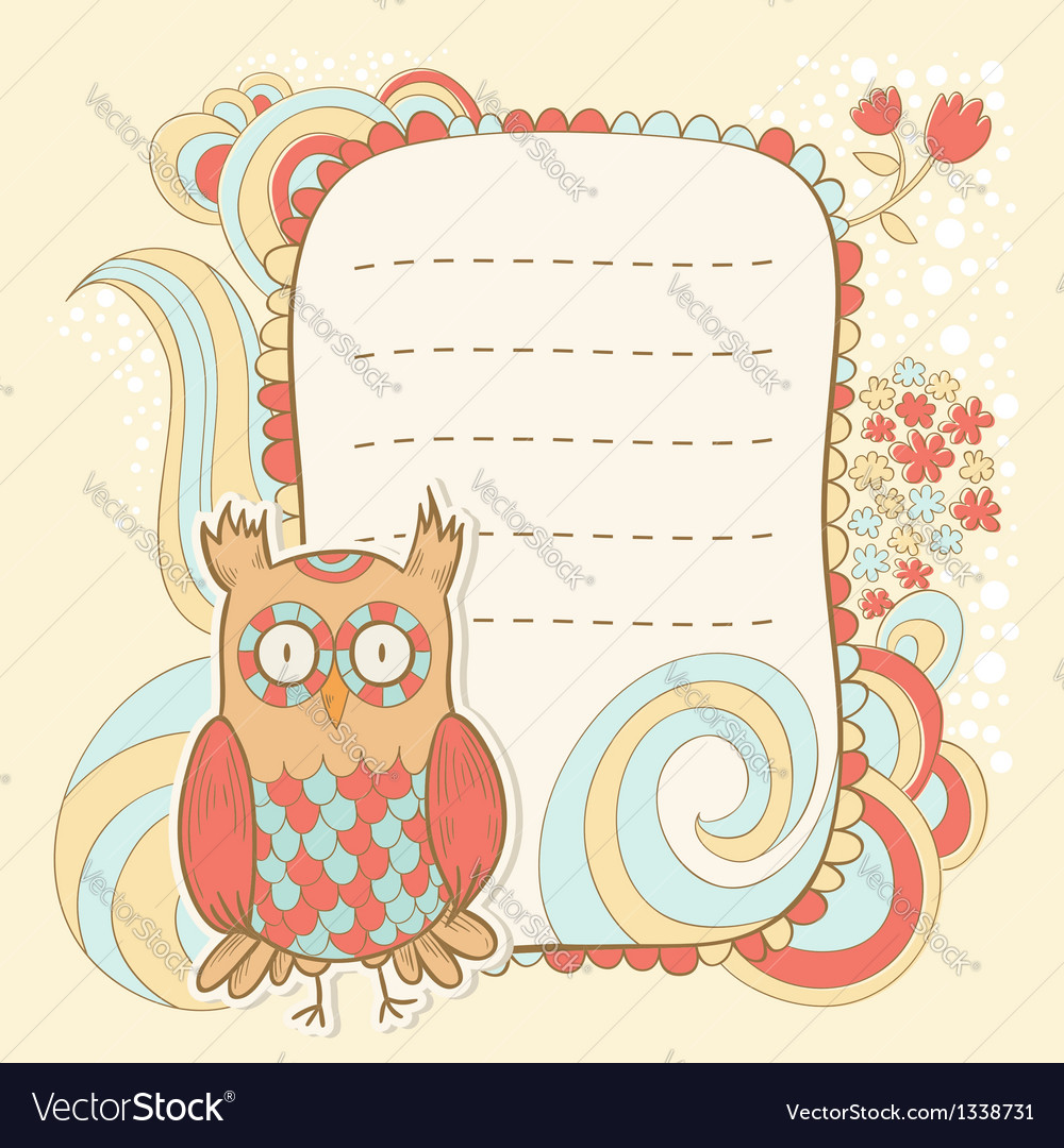 Cute cartoon owl stylish sticker card vector | Price: 3 Credit (USD $3)
