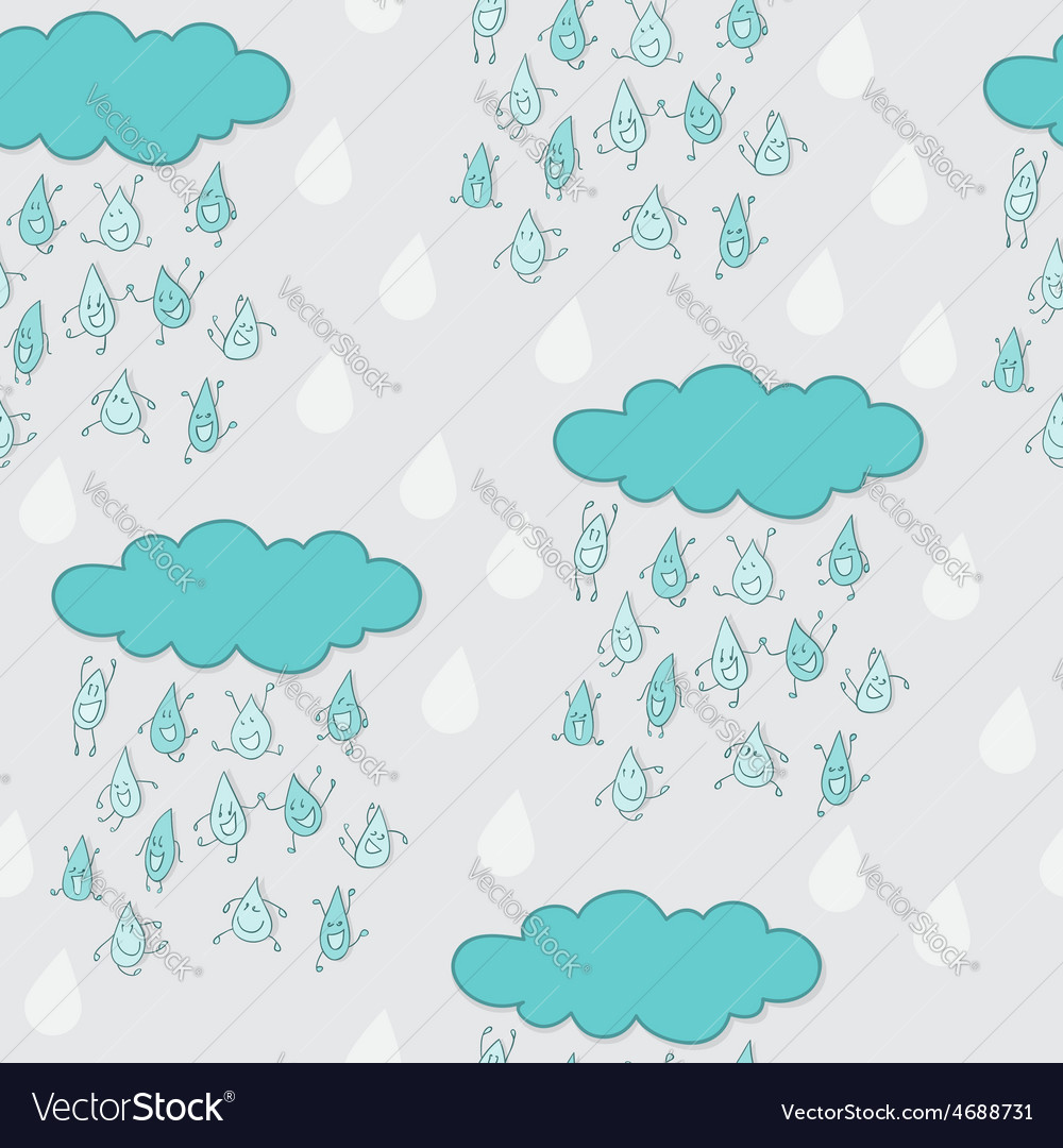 Happy funny raindrops seamless pattern vector | Price: 1 Credit (USD $1)