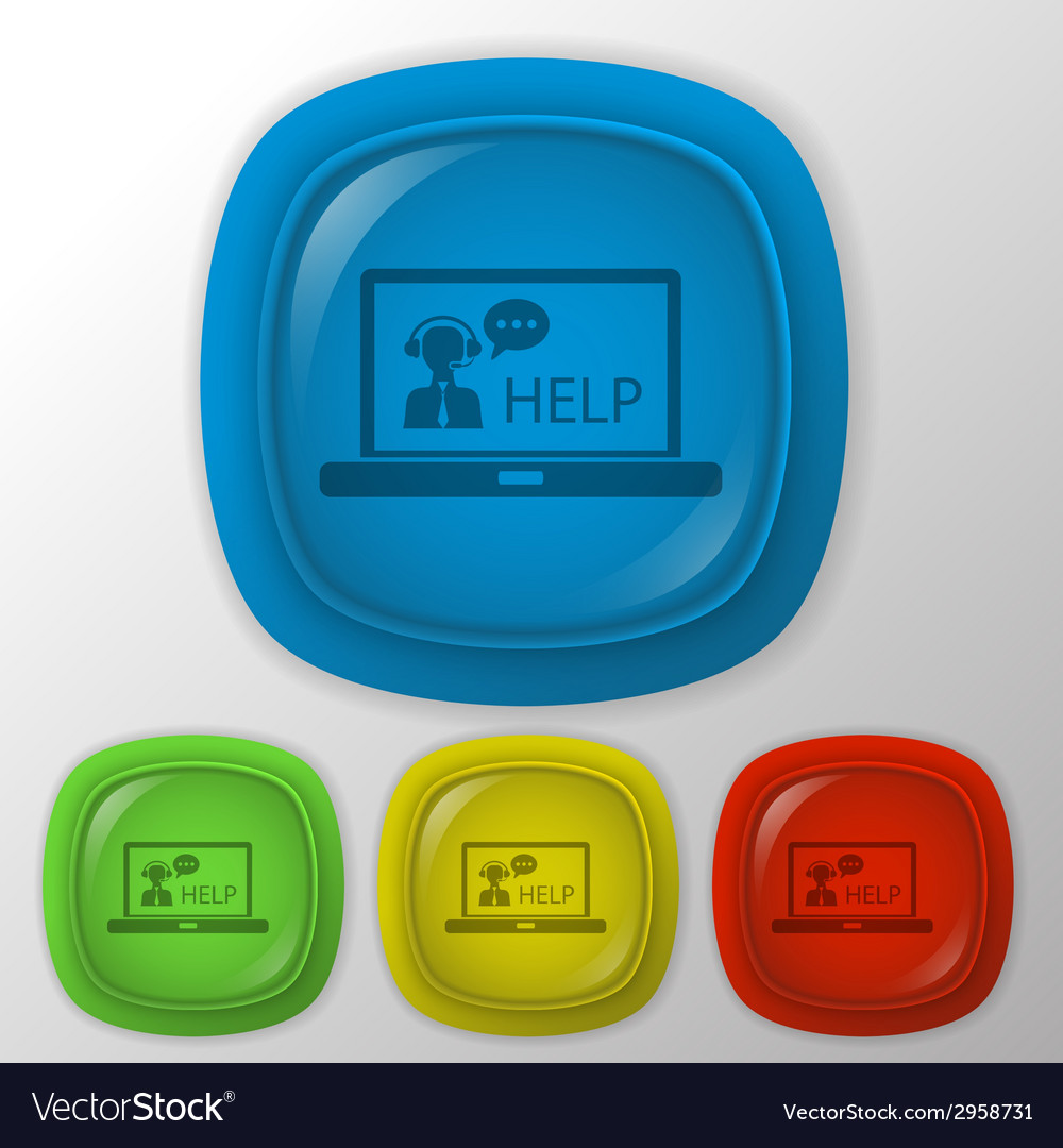 Laptop with customer support vector | Price: 1 Credit (USD $1)