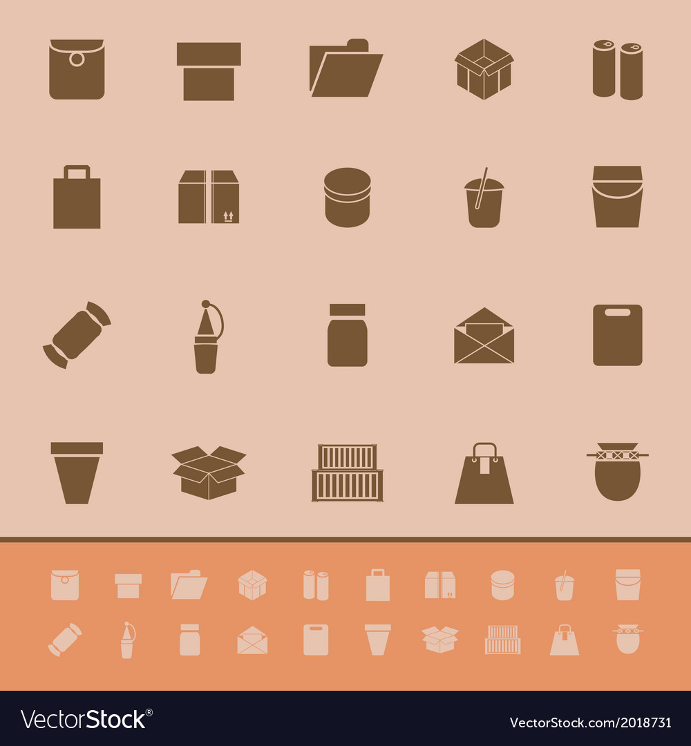 Package color icons on brown background vector | Price: 1 Credit (USD $1)
