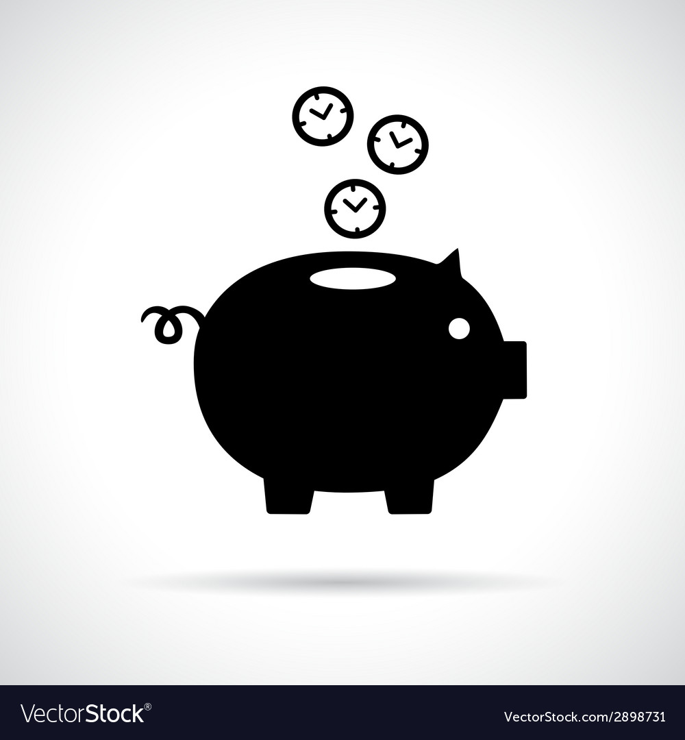 Piggy bank icon with clocks falling in vector | Price: 1 Credit (USD $1)
