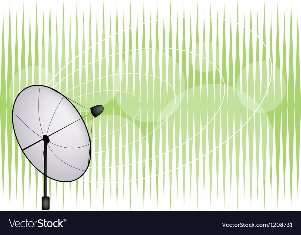 Satellite dish on green background vector | Price: 1 Credit (USD $1)
