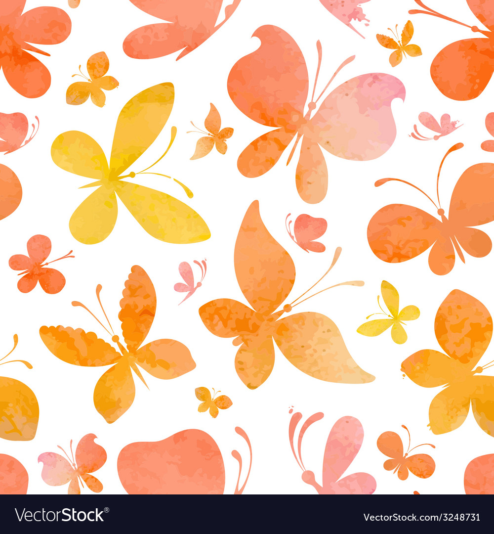 Seamless watercolor pattern of butterflies vector | Price: 1 Credit (USD $1)