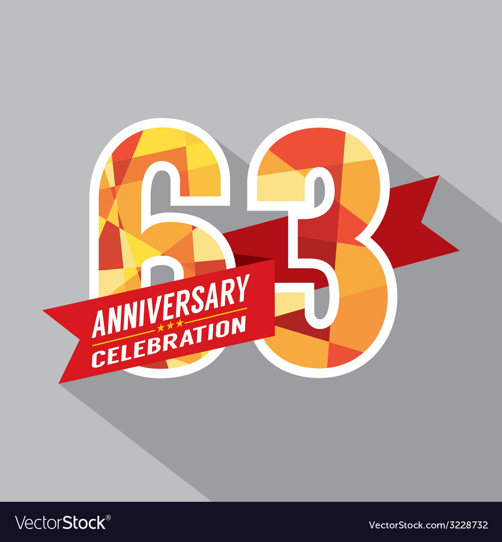 63rd years anniversary celebration design vector | Price: 1 Credit (USD $1)