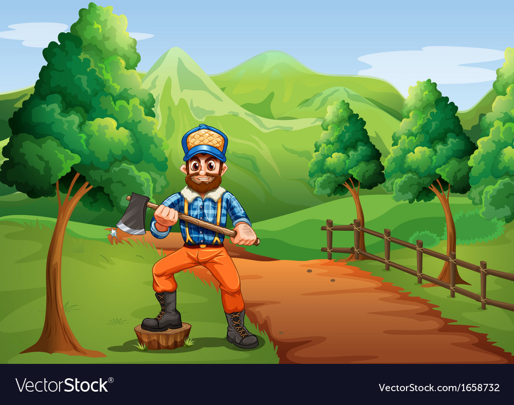 A lumberjack near the road carrying an axe vector | Price: 3 Credit (USD $3)