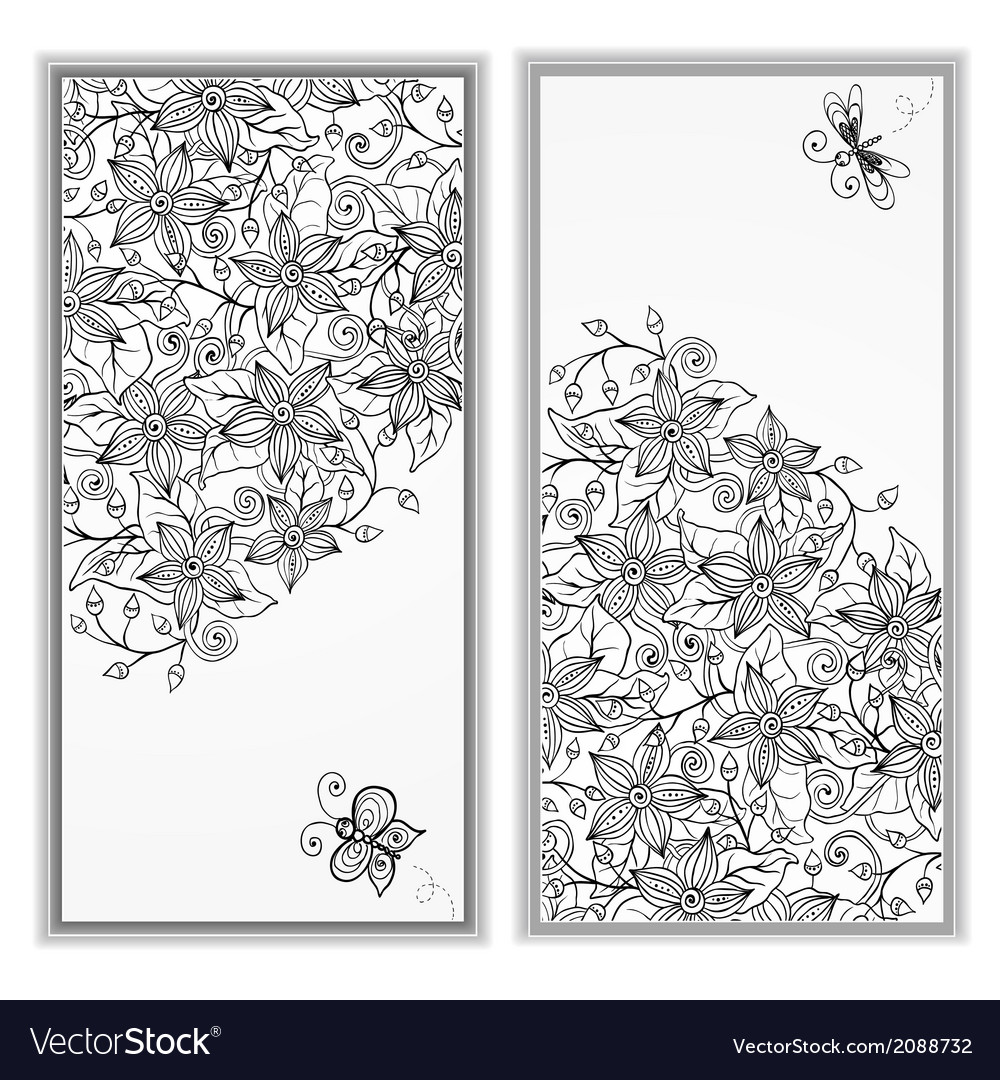 Abstract hand drawn pattern card set vector | Price: 1 Credit (USD $1)