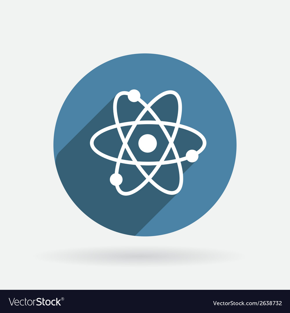 Atom molecule circle blue icon with shadow vector | Price: 1 Credit (USD $1)