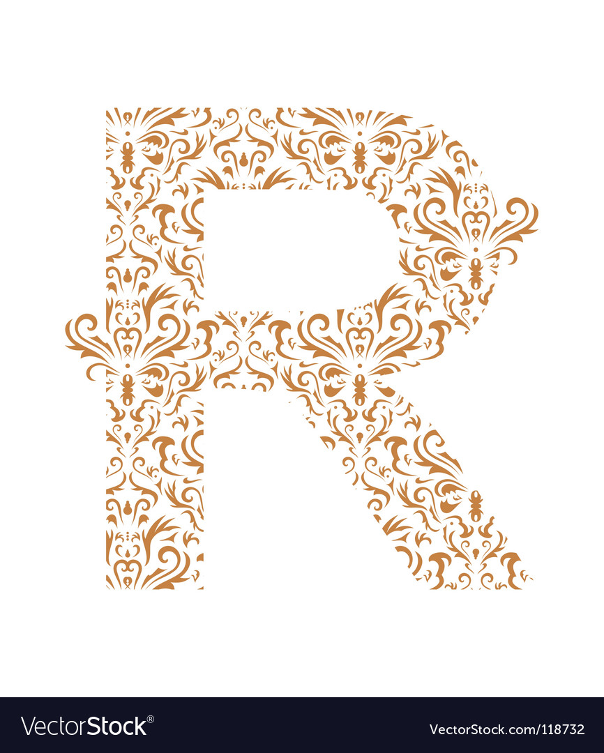 Floral letter r ornament font vector | Price: 1 Credit (USD $1)