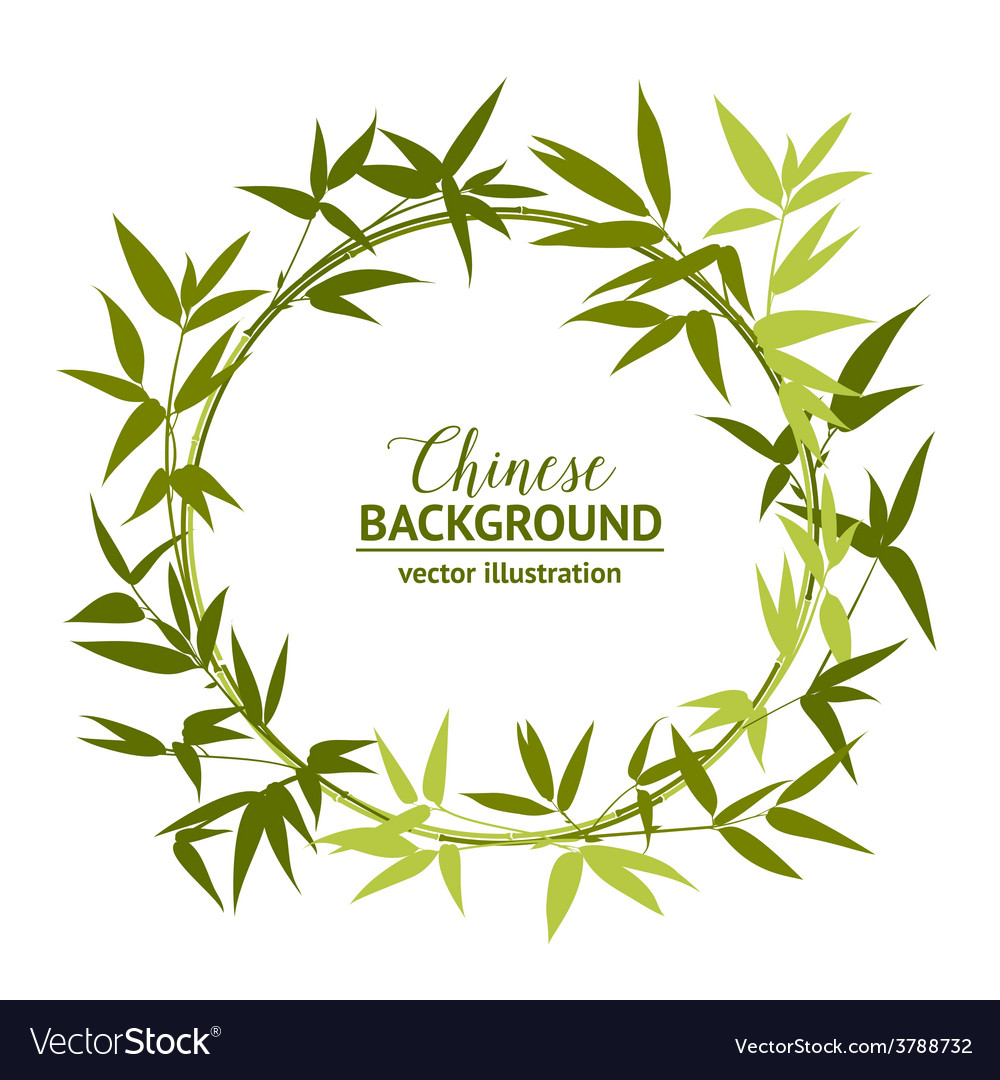 Green bamboo wreath vector