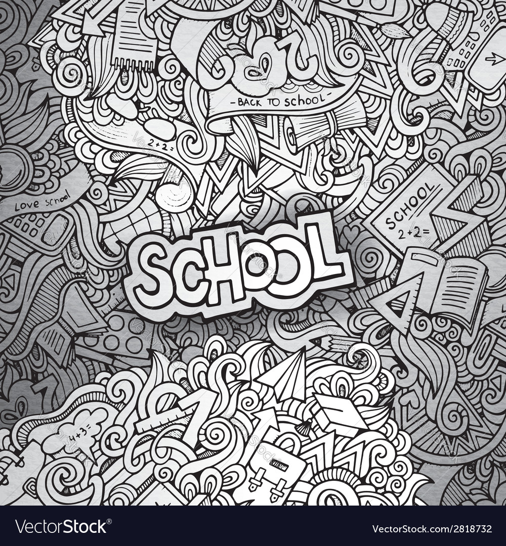 Hand drawn school sketch background vector | Price: 1 Credit (USD $1)