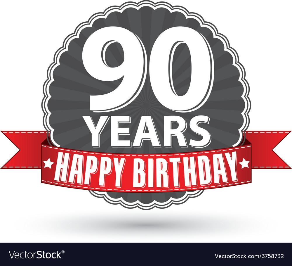 Happy birthday 90 years retro label with red vector | Price: 1 Credit (USD $1)
