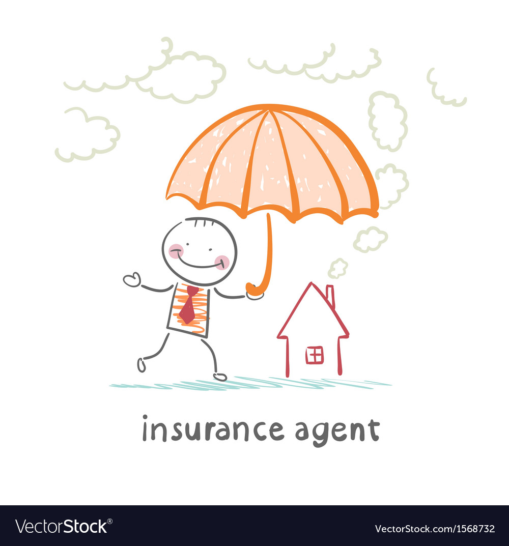 Insurance agent is holding an umbrella over the vector | Price: 1 Credit (USD $1)