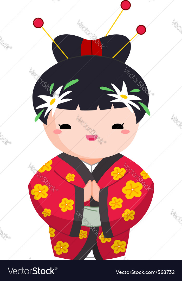 Japanese girl vector | Price: 1 Credit (USD $1)