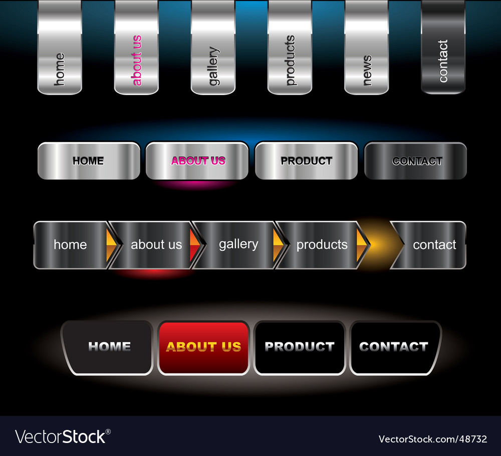 Metallic editable website buttons vector | Price: 1 Credit (USD $1)