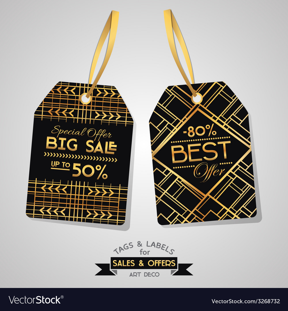 Sale tags and labels - art deco style vector | Price: 1 Credit (USD $1)
