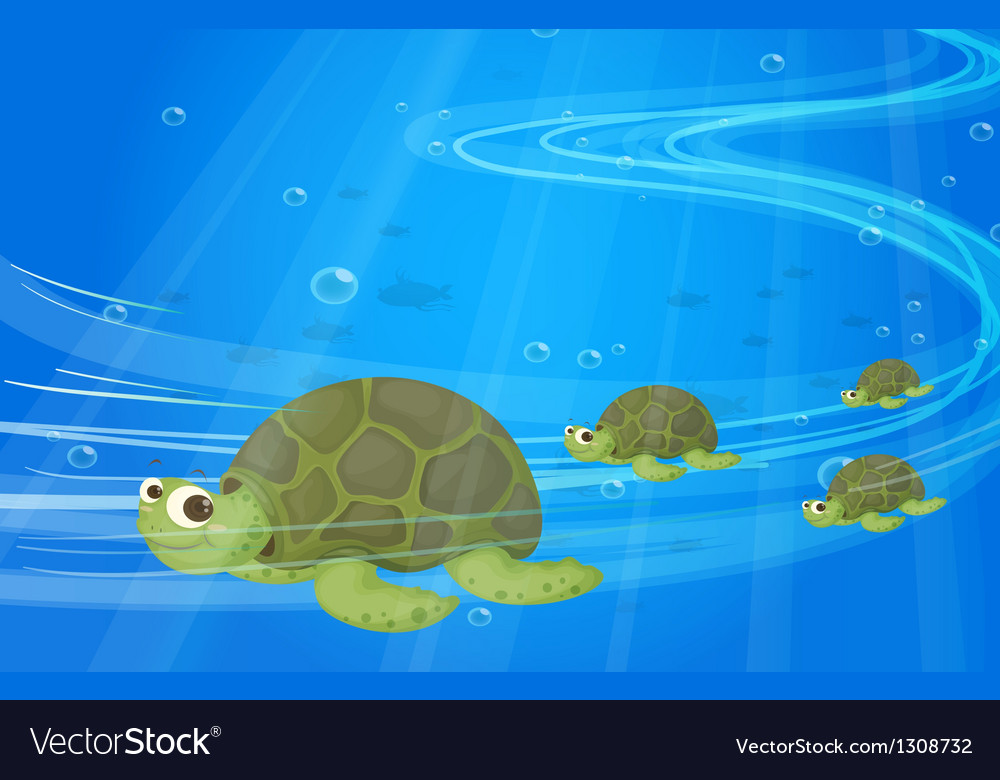 Turtles under the sea vector | Price: 1 Credit (USD $1)