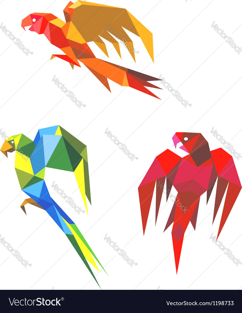 Abstract origami parrots vector